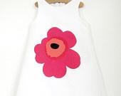 Organic Lucia Dress with a Red Marimekko Unikko Poppy applique, Age 4-5. £40.00, via Etsy.