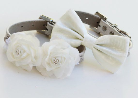 White Wedding Dog Collars, Bow tie and Floral Dog Collar, High Quality, Wedding dog accessory. Two dog collars