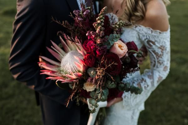 Leah And Henry Viva The Flower Store Harvest Kitchen Flowers By Viva The Flower Store Www Vivaflowers Co Wedding Bouquets Protea Bouquet Colorado Wedding