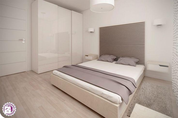 Minimal z turkusem - Średnia sypialnia małżeńska, styl minimalistyczny - zdjęcie od Fabryka Nastroju