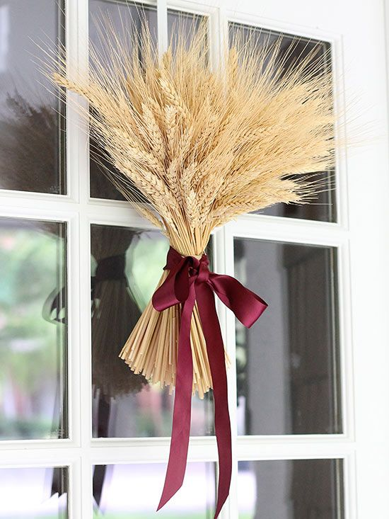 Gather a bunch of dried wheat for a quick front door decoration: http://www.bhg.com/thanksgiving/outdoor-decorations/holiday-wreaths/?socsrc=bhgpin092814sheavewreath&page=3