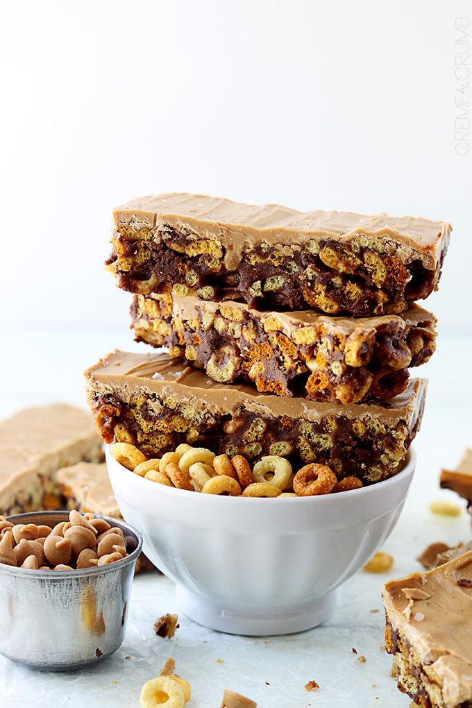 Sweet and salty chocolate and peanut butter cheerio bars - An easy to make breakfast or snack you can keep in the cupboard all week long!