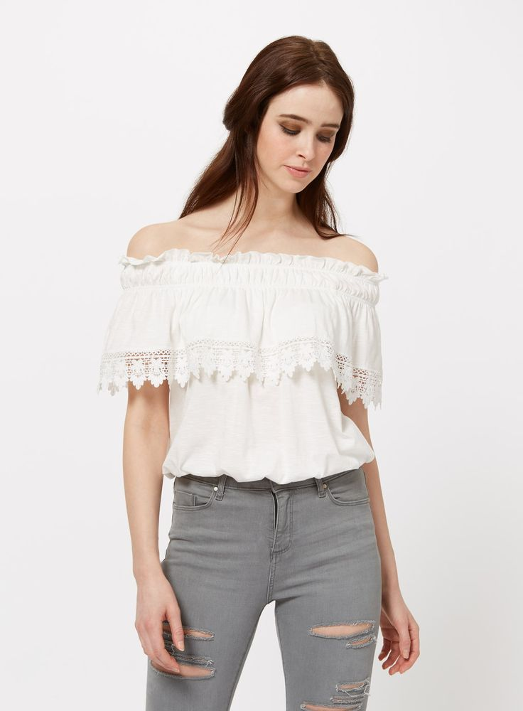 Beautiful crochet bardot top from Miss Selfridge