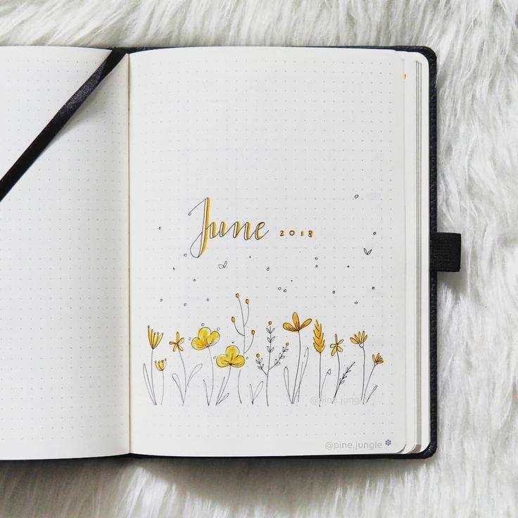 Bullet Journal Monatsdeckblatt, Juni Deckblatt, Handbeschriftung, Blumendoodl – #Blumendoodl #Bullet #Deckblatt #Handbeschriftung