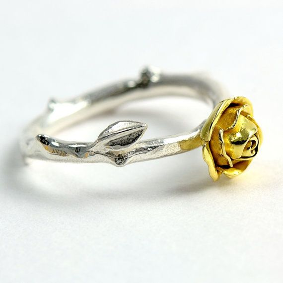 18 carats yellow ecogold rose ring, rose stem Jewellery, yellow rose, silver and…