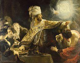 """Barique- Rembrandt-Le festin de Belsazar.- 24) LITTERATURE ET PHILOSOPHIE BAROQUE: On retrouve l'affliction psychologique de Homme -un thème abandonné après les révolutions de Copernic et de Luther dans la recherche d'un soutien solide, une preuve de l'ultime puissance humaine- à la fois dans l'art et l'architecture de la période baroque. Une part révélatrice des œuvres fut réalisée sur des thèmes religieux, puisque l'Eglise catholique romaine était alors le principal """"client""""."""