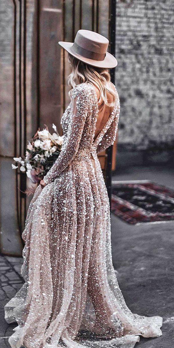 36 Chic Long Sleeve Wedding Dresses ❤  long sleeve wedding dresses a line v back sequins coutry tali photography #weddingforward #wedding #bride