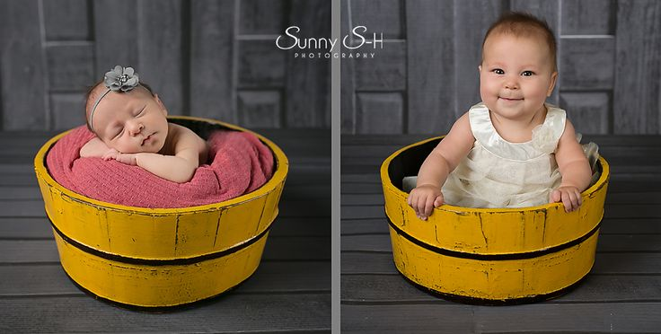 comparison shot using newborn photo and 6 month session.  Studio newborn and baby photography.