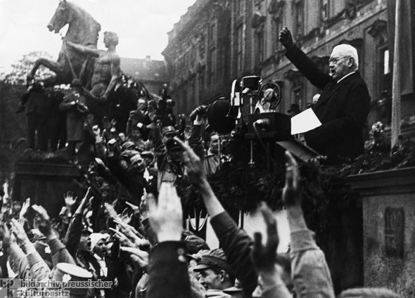 Reich President Paul von Hindenburg delivers his very first May Day Address, Berlin (May 1, 1933).