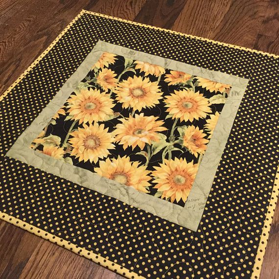 Quilted Sunflower Table Topper Yellow Black Table Topper