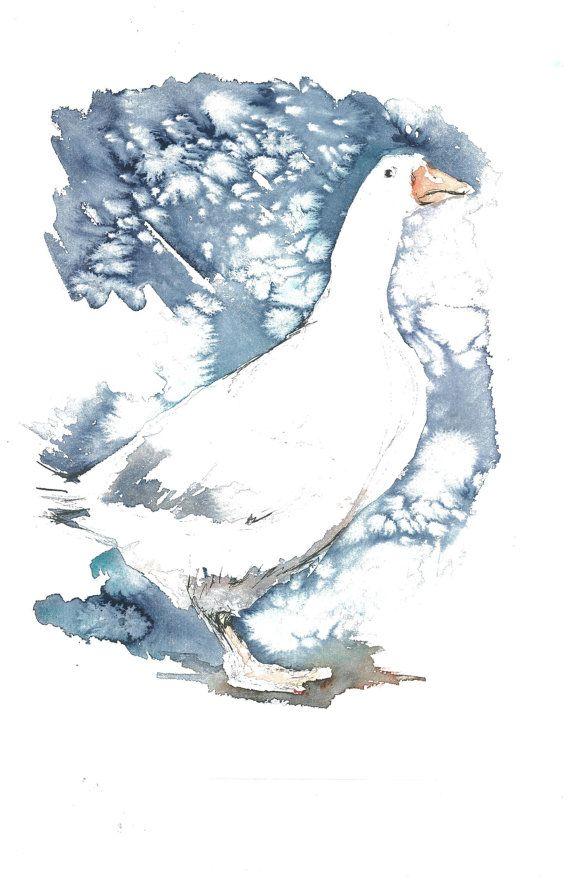 Christmas Goose by DanaMallonART on Etsy