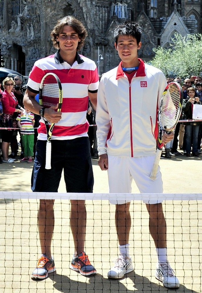 Spanish flair: Rafael Nadal and Kei Nishikori in Barcelona.  April 2012.  #tennis