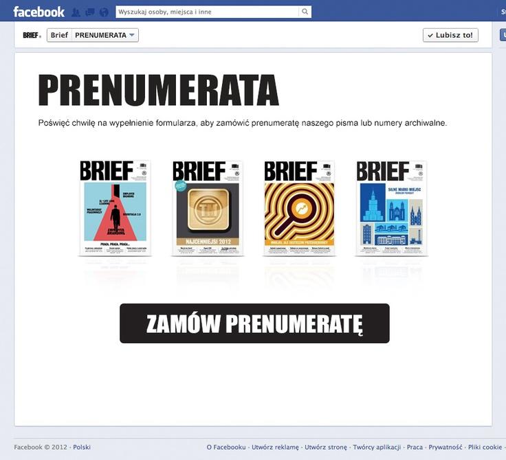 """Zakładka dodatkowa na Fan page'u Magazynu """"Brief"""""""