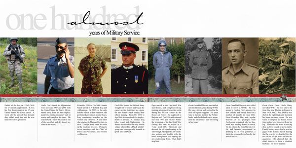 Remembering Veterans - great timeline layout