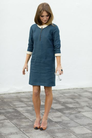 emerson fry | spring 2012: Simple Dresses, Sewing Projects, Braids Trim, Emerson Fries, Peter Pan Collars, Shift Dresses, Colors Blue, Mod Dresses, Against Against