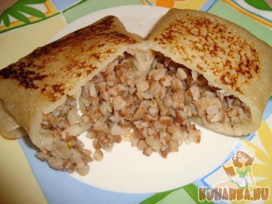 Рецепт: Постные блинчики с гречей и грибами