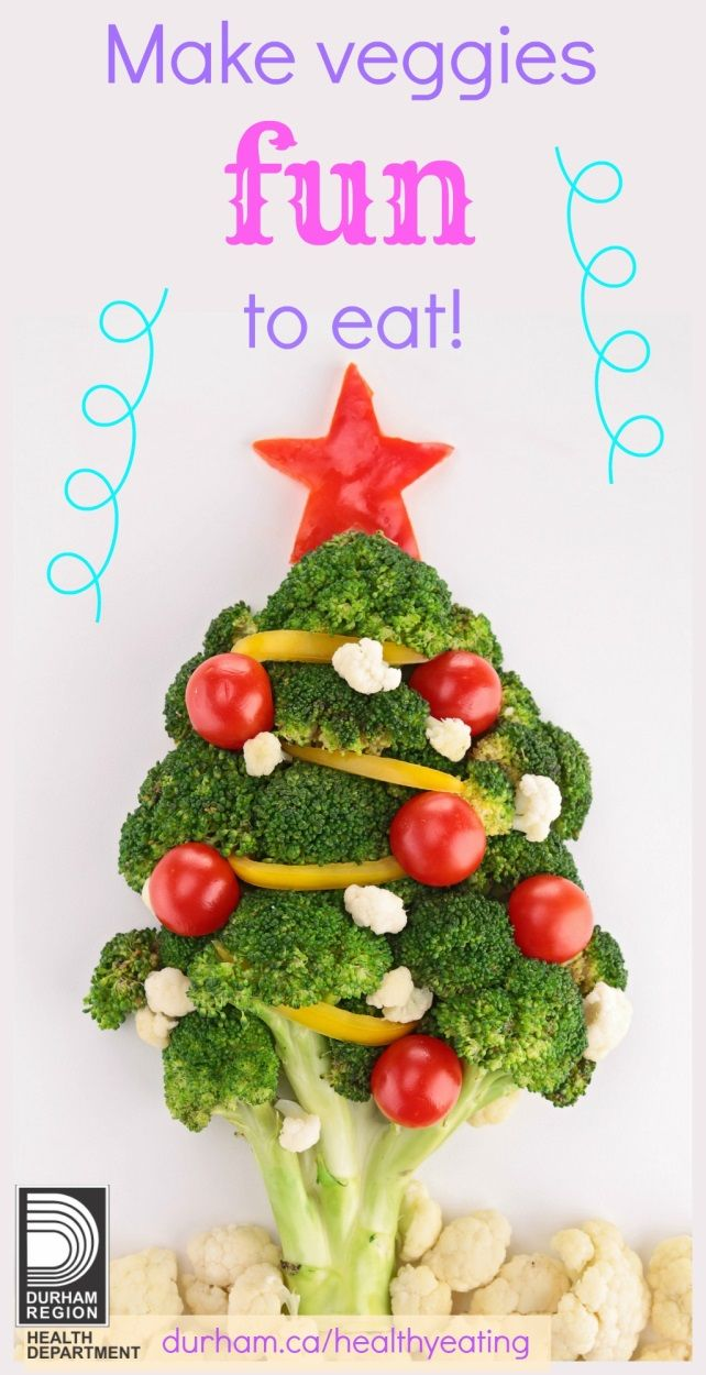 During the holiday season there are a lot of gatherings with family and friends. Try making vegetables and fruit resemble the holiday's theme. Check out page 3 of our magazine for other great ways to make food exciting to eat.