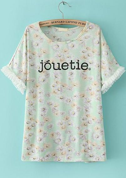 Green Short Sleeve Floral jouetie Print T-Shirt US$19.71