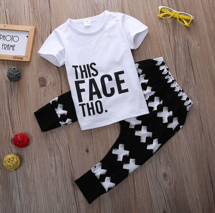 Little Boys Short Sleeve Letters Print T-shirt and Cross Pants Outfit (80(6-12M))