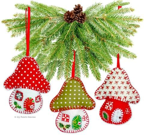 """Toadstool House Christmas Ornaments 4"""" Paper Sewing Pattern"""