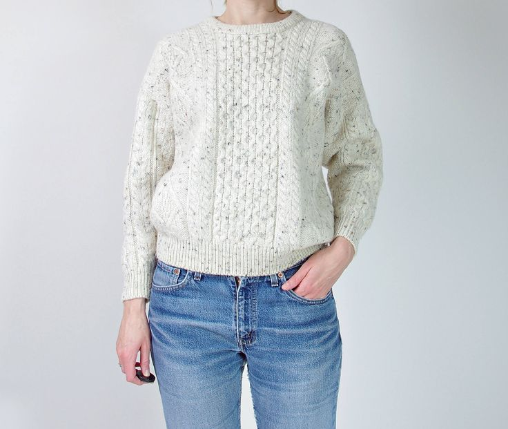 #80s #Irish #Homecraft #offwhite #wool #sweater #madeinIreland 🐑☘http://etsy.me/2D13fPT #vintage #etsy #streetstyle #oldschool #vintagefashion #vintageclothes #winter #sweaterweather #mountain #hiking #womenswear