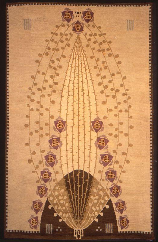 Ruusu Rose rug, Eliel Gottlieb Saarinen (Designer), Suomen Käsityön Ystävät (Maker), cotton and wool, circa 1940.