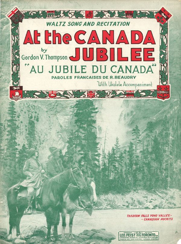 Illustrated cover of the sheet music for AT THE CANADA JUBILEE, by Gordon V. Thompson