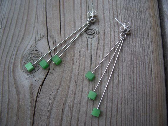 TripleCube Earrings by gemsbyellen on Etsy, $10.00
