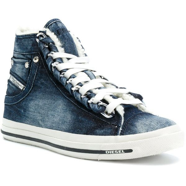 Diesel Exposure denim hi-top sneakers ($133) ❤ liked on Polyvore featuring shoes, sneakers, plaid shoes, diesel trainers, round toe sneakers, high-top sneakers and round cap