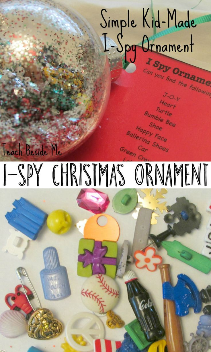 Personalized ornaments for kids - Kid Made I Spy Christmas Ornament