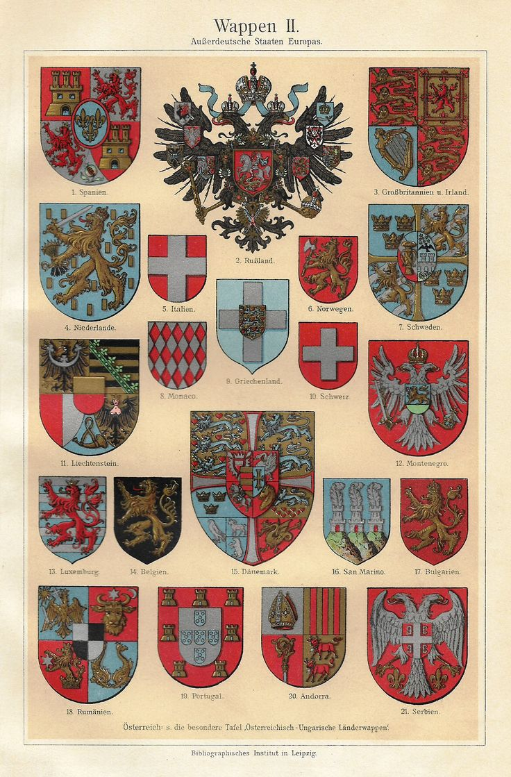 """Meyers's Lexicon - 1913 - """"COATS OF ARMS - EUROPE"""" - Chromolithograph"""