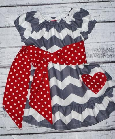Girls Valentines Day Peasant Dress, Valentines Day Outfit, Sizes 3/6 months, 6/9, 12, 18, Size 2, 4, 6, 8, 10, 12
