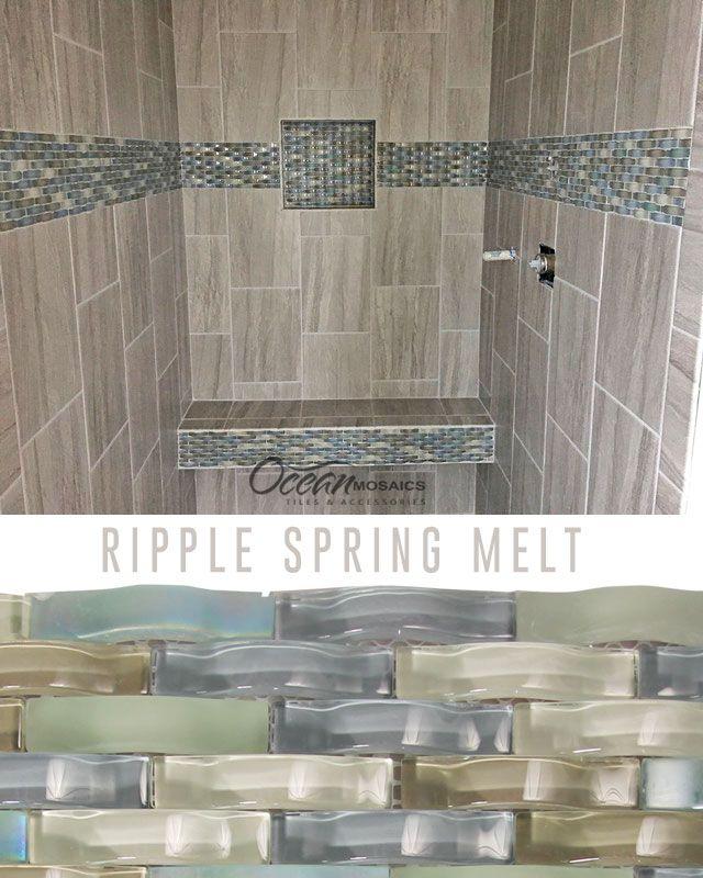 Ripple Spring Melt Grey Wavy Mosaic Glass Tile Tile Bathroom