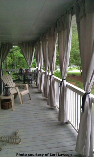 Great looking porch. Curtains from drop cloths from home depot. See length adjusted by folding over to make a valance...