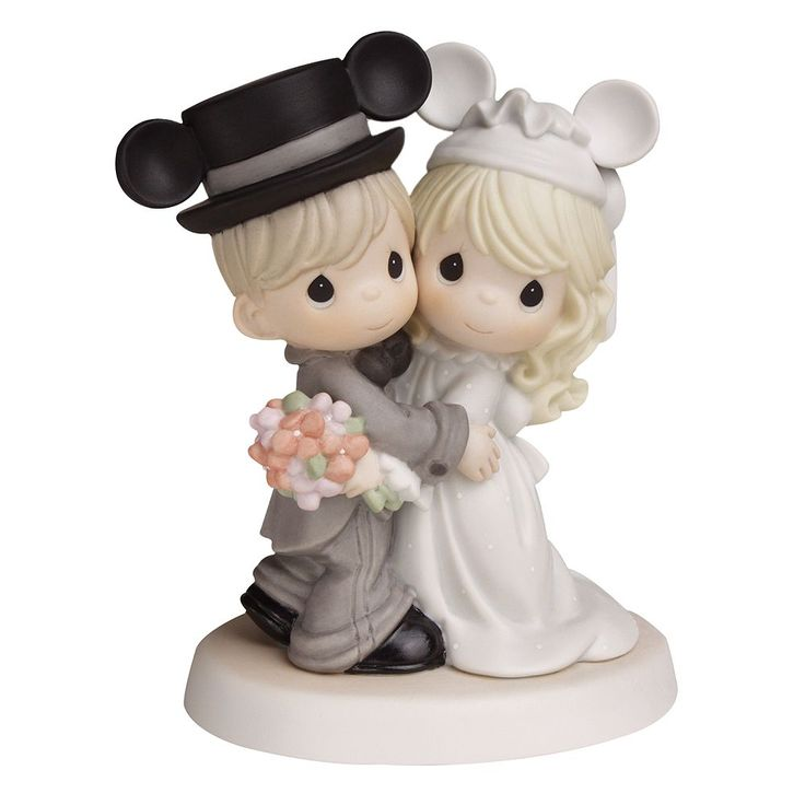 Disney's Mickey Mouse Wedding Couple Wearing Mickey Ears Figurine by Precious Moments, Multicolor
