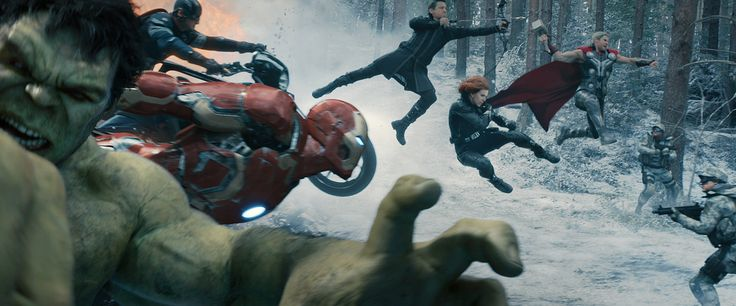 Still of Chris Evans, Scarlett Johansson, Jeremy Renner and Chris Hemsworth in Avengers: Age of Ultron (2015)