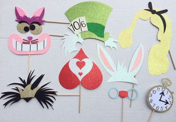 Alice in Wonderland Inspired Photo Booth Props ; Disney Birthday Party ; Tea Party Photobooth props LetsGetDecorative