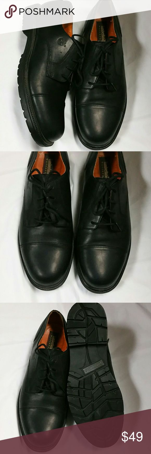 Timberland leather waterproof work shoes. Sz. 10.5 Black leather lace up oxfords, waterproof. Soft toe. Timberland style 93067. Very little wear on heel and sole. No scuffs on leather. Great pre owned condition. No flaws to note. Great for the man who dresses on the more casual side but needs a tough shoe that will get through anything. Size 10.5 Timberland Shoes
