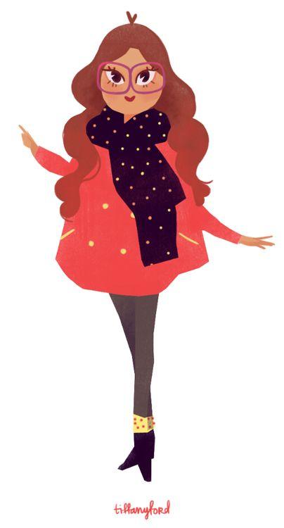 Girl with big glasses #illustration / Ragazza con occhiali enormi #disegno #illustrazione - Illust: Tiffany Ford