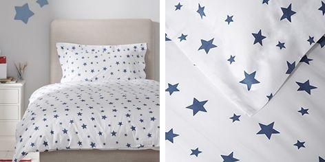 Moonlight Blue Star Print Bed Linen Set