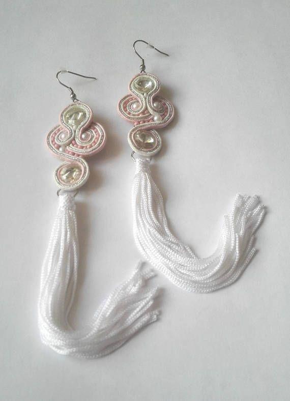 Extra long tassel beaded earrings delicate white pink beaded