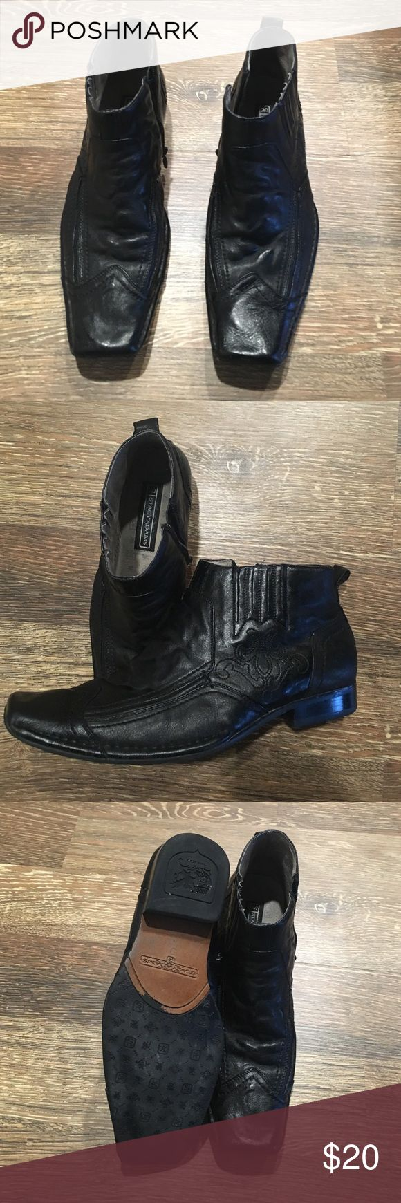 Stacy Adams Side Zip Boots Stacy Adams Side Zip Boots - Leather Upper and Lining - Unique Stitching Design - Good Condition - Shows Some Wear - Black Color Stacy Adams Shoes Chukka Boots