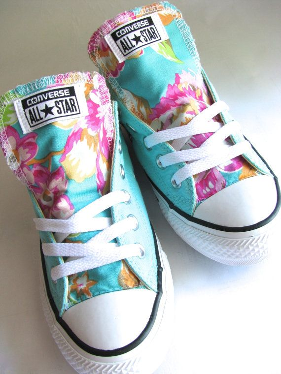 Pink and mint blue size 7 converse womens by Karaleighoriginals