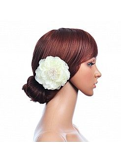 White Silk Hair Flower with Pearl and Rhinestone Detail - USD $12.99