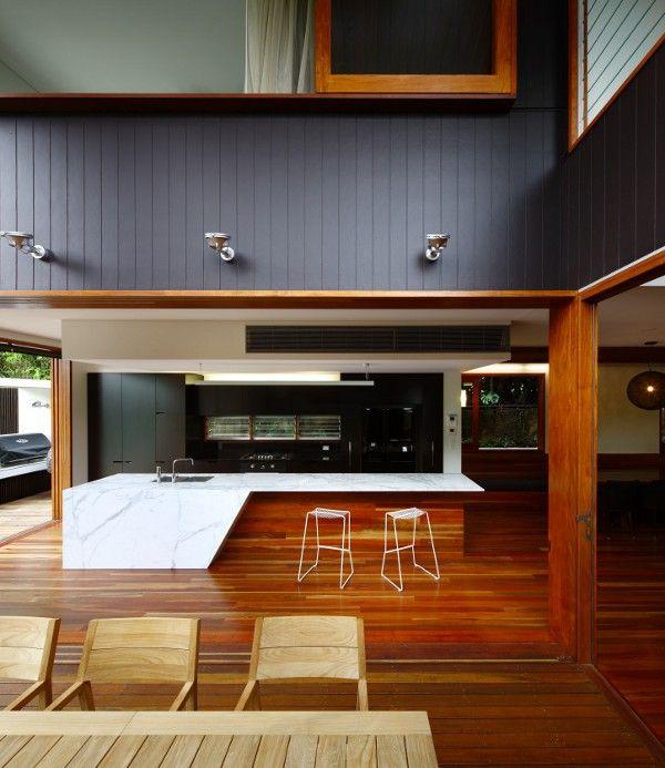 interior of Browne Street House in Brisbane, Australia. Designed by Shaun Lockyer Architects,reinterpretation of Queenslander architectural typology, showing the evolution of local style. Designed by Shaun Lockyer Architects,