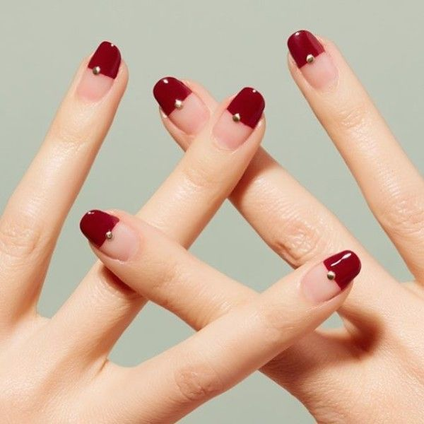 Half wine red nail tips
