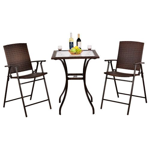 Brown Rattan Furniture Dining Set Patio Glass Top Table Folding Wicker Chairs  #Goplus
