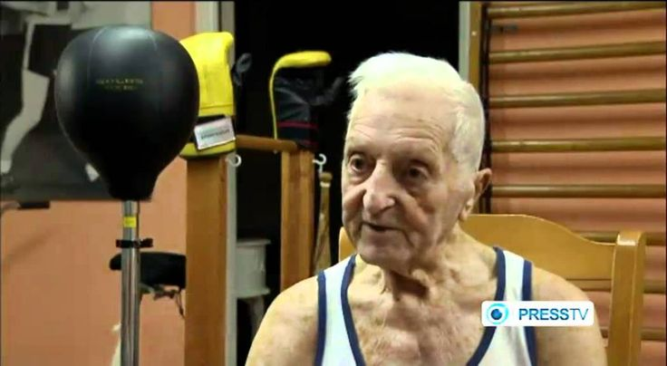 94 year-old fitness fanatic works out like a champ