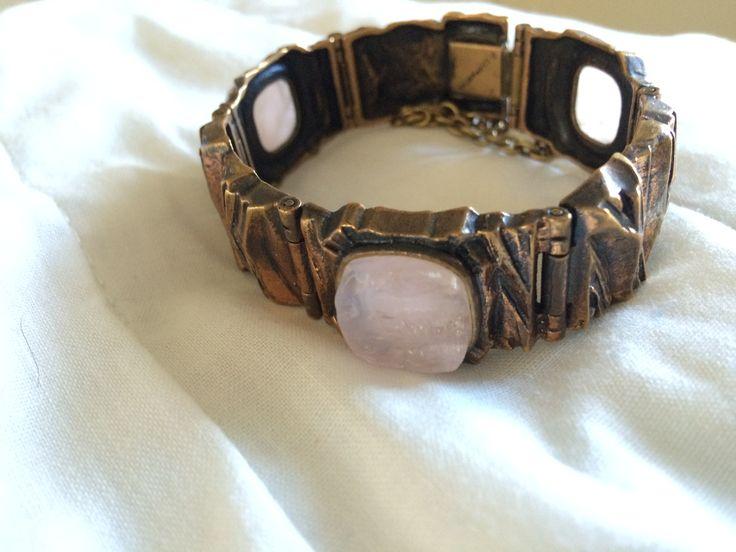 Bronze bracelet with roughly cut rose quartz. Pentti Sarpaneva, Finland