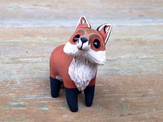 Fox: Handmade miniature polymer clay animal by AnimalitoClay